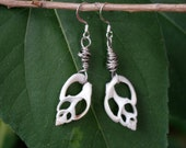 White Shell Wire Wrapped Dangle Earrings