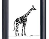 Giraffe - Custom Personalized Newborn Print UNFRAMED