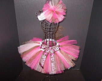 TuTu Skirt and Headband Two Piece Set Newborn to 6 Months Pink & Brown COWGIRLS RULE Baby Infant CUSTOM