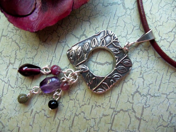 Silver Necklace w/ Amethyst, Garnet and Tourmaline on Leather Cord - 860