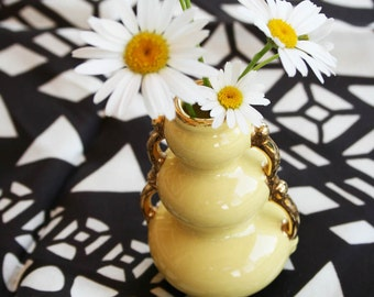 Vintage Savoy China Style Bud Vase Yellow with Gold Trim