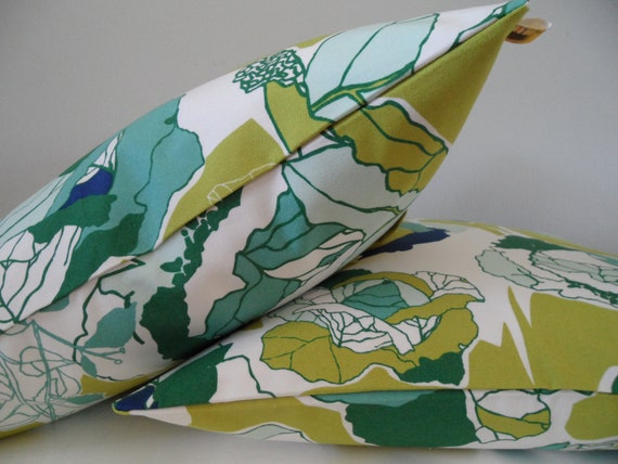 Decorative Pillow Cover 18x18 Designer Cotton Fabric Chartreuse Color Floral Modern Contemporary Handmade