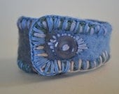 "Cuff Wool Bracelet, Felted and Embroidered Upcycled Button, Handmade, One of a Kind, ""Pretty Pretty"""