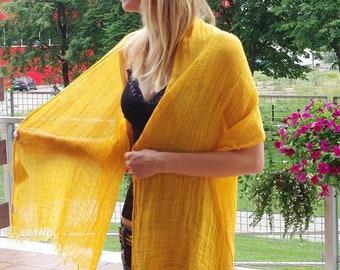 Linen scarf, 100% linen orange natural scarve, spring summer accessory