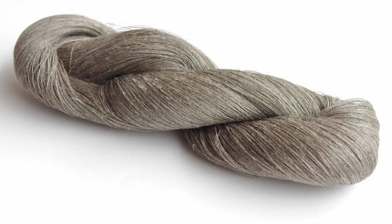 Linen yarn 200grams natural grey yarn, hanks of yarn