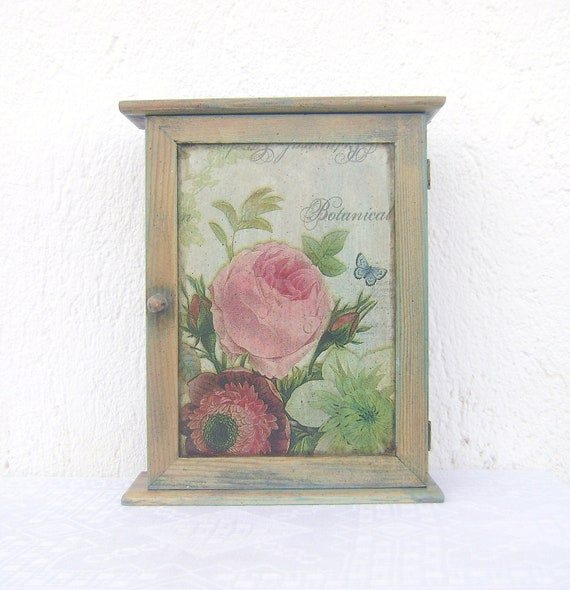 Botanical Garden Decorative Vintage Style Hanging Wooden Key Box, Key Cabinet, key storage, key hanger Wall house decor