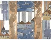 """Original Painting. Watercolor Painting.OOAK. """"Northern Sky Houses""""."""