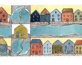 Summertime , Seashore Houses ,    Watercolor Painting   Beach House Decor, Wall Art