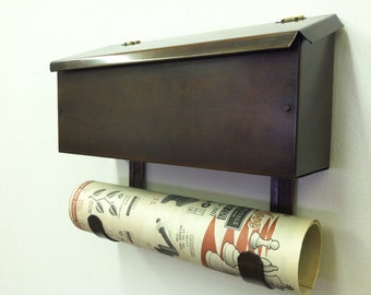 Flush Mount Copper Mailbox with Scroll Bronze Patina