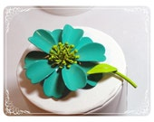 Reserved for ZiLLAsQuEeN Flower Power Enamel Vintage Brooch - Turquoise & Green  1549ag-040111000