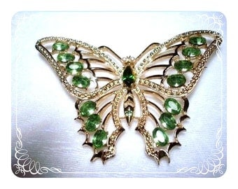 Large Sparkling Green Rhinestone Butterfly Brooch  Pin-1852a-040810000