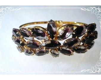 Black Art Glass Clamper - Vintage Rhinestone Bracelet  Brac-1116a-010808055