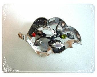 Bejeweled Leaf Brooch - Signed Triad Rhinestone Pin   1204ag-012312000