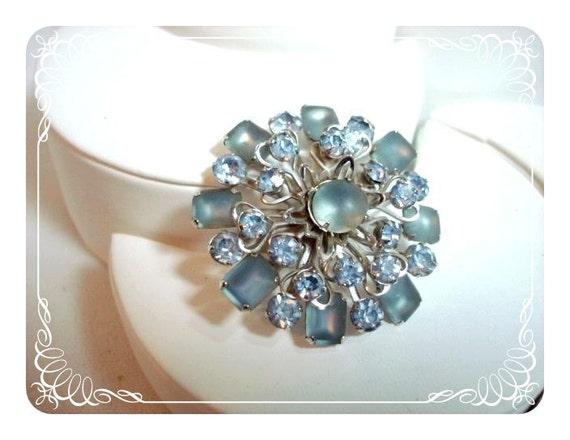 Vintage Blue Satin Glass Round Brooch -  1373ag-040810000