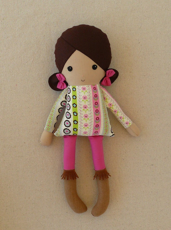 Reserved for Jina - Fabric Doll Rag Doll Girl in Fringed Boots