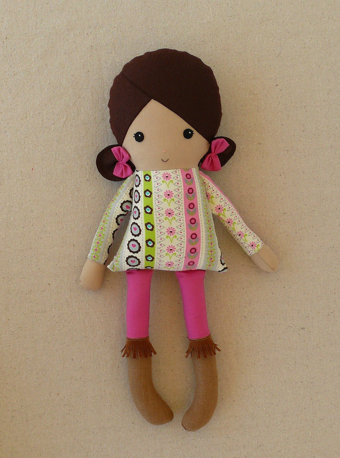 Reserved For Jina Fabric Doll Rag Doll Girl In Fringed Boots