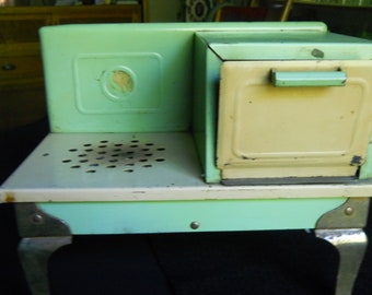 1930 Child's Electric Stove, Cream and Green