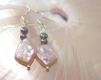 Pearl earrings dangles quadrangular salmon pink sterling silver hook