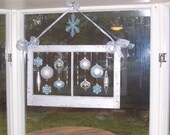 Private Listing for Cyndi M. Antique Wooden Holiday Window Frame w/Ornaments