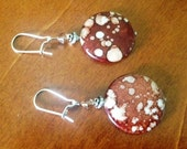 White speckled brown disc beaded earrings with silver kidney hooks
