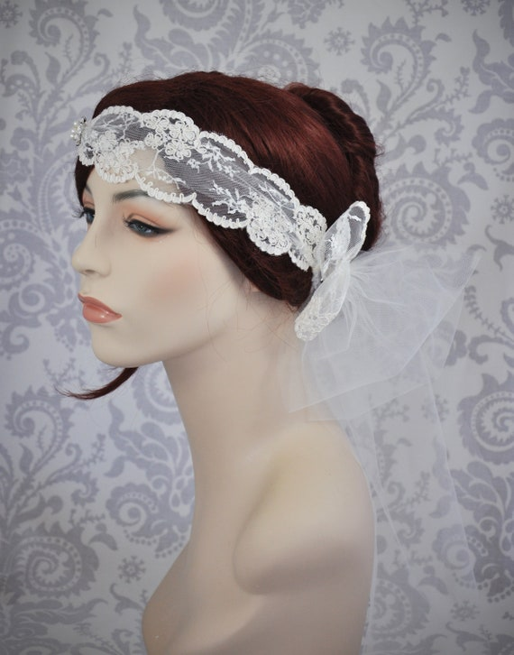 Lace Bridal Head Piece, Bohemian Bridal Accessory, Bridal Cap, Boho Veil, Lace Bridal Cap, Ivory bridal Headband, Ivory, White, Any Color
