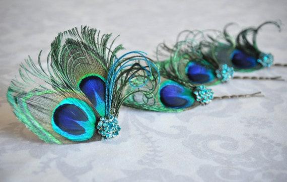 Peacock Feather Hair Accessories, Turquoise Bridal Hair clip, Bridesmaid Gift Set, Bridesmaid Hair, Something Blue - 106HP set