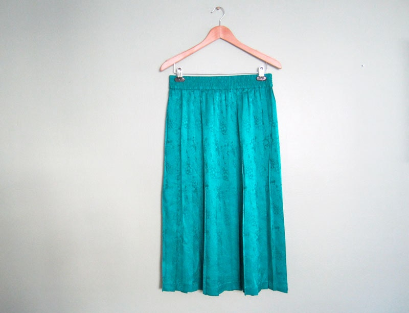 maxi skirt pleated skirt teal blue silk skirt by milkteeths