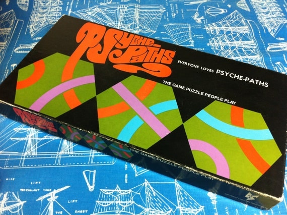 Vintage Psyche-Paths Neon Puzzle Game from 1968