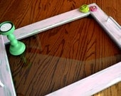 Re-purposed Serving Tray: Green and Pink Embellished with Tinted Glass Center