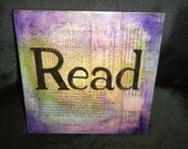"Handmade Altered Art Mixed Media Sign ""Read"" on wood with hanging hook 8"" x 8"""