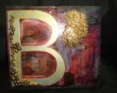 "Handmade Altered Art Mixed Media Sign letter ""B"" with gold embellishments and hanging hook 8""x8.5"""