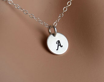 All Sterling Charm Initial  Necklace, Dainty Love Friendship Family Personalized  Initial Jewelry