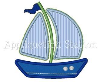 Sailboat w Trim Applique Machine Embroidery Design boat boy blue INSTANT DOWNLOAD