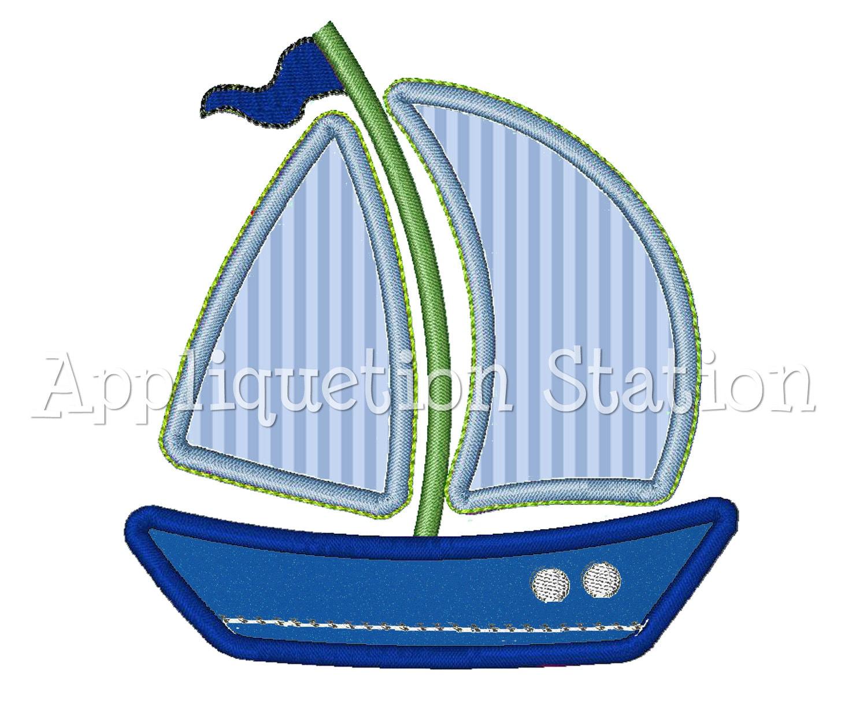 Sailboat w trim applique machine embroidery design boat boy for Appliques design