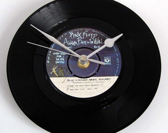 """PINK FLOYD Vinyl Record CLOCK """"Another Brick In The Wall"""" 7"""" single. Unique Gift Present for prog rock fans dad brother boyfriend co worker"""