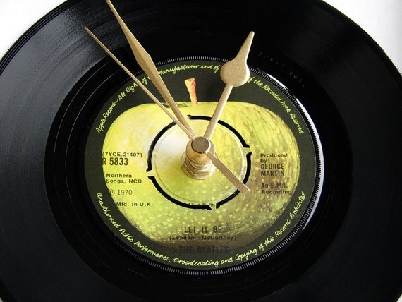 "The BEATLES Vinyl Record CLOCK, A recycled 7"" single, "" Hey Jude"", or choose your own favourite.."