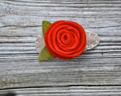Felt Rose Hair Barrettes - Tan, Red, and Green - Custom colors available