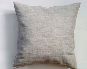 Linen pillow case - natural fabric pillow cover - light grey - decorative covers - throw pillows - shams 0080