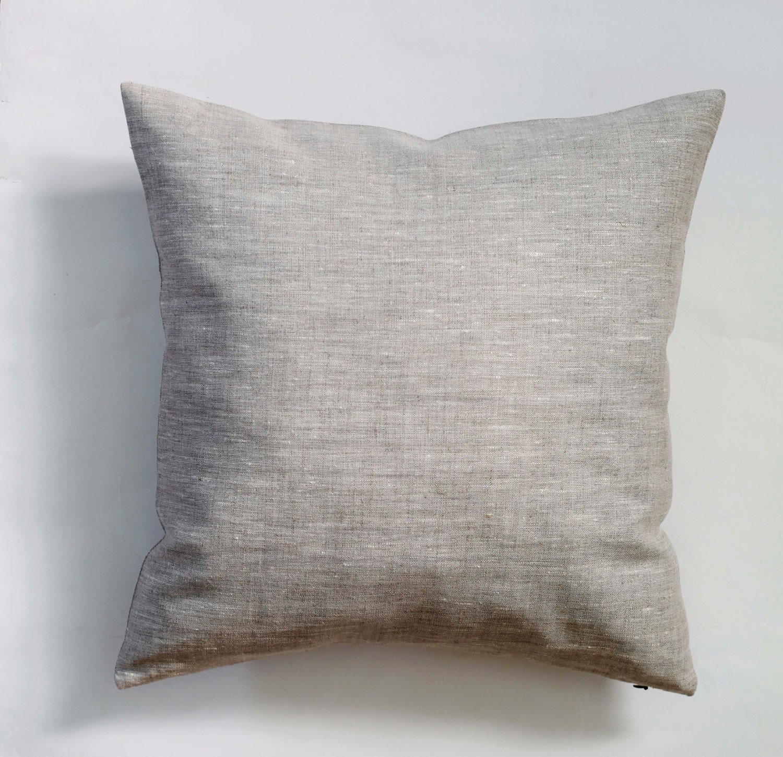 Linen pillow case natural fabric pillow cover light grey - Fabric for throw pillows ...