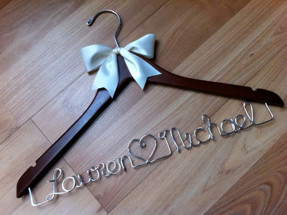 Adorable 'name heart name' couple hanger - the cutest hangers around - perfect for engagement or bridal shower gifts - with or without bow