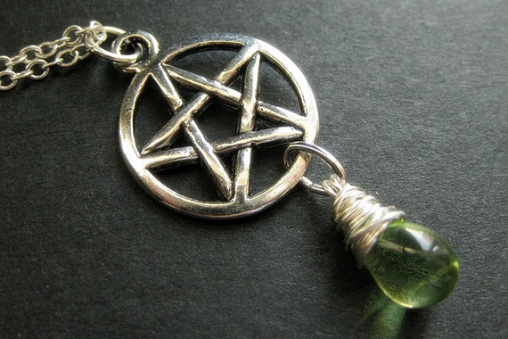 Wiccan necklace silver pentagram necklace teardrop necklace like this item aloadofball Choice Image