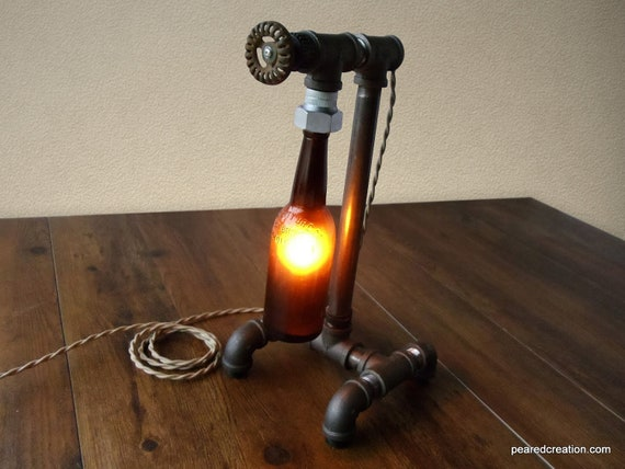 industrial brewery lamp bottle lighting steampunk fixture. Black Bedroom Furniture Sets. Home Design Ideas