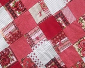 Floral Baby Quilt, Shabby Chic Baby Quilt, Red Pink Baby Blanket 36 X 42
