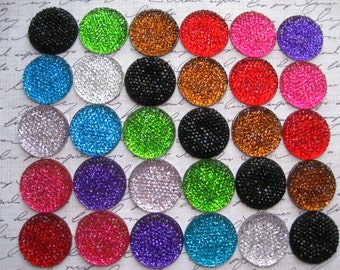 Round Rhinestone Cabochon / 12 pcs Mixed Lot 24mm Rhinestone Cabochon