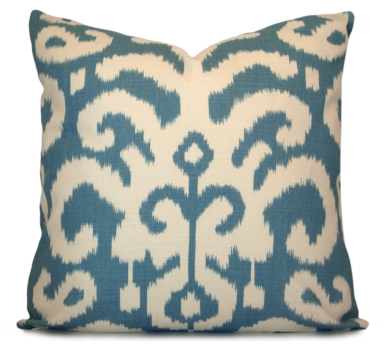 Ikat Throw Pillow Covers : Ikat Decorative Pillow Cover Suburban Fergana Ikat in Aqua