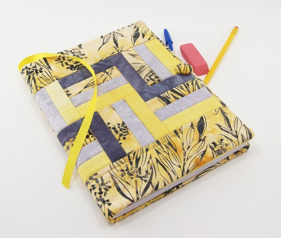 Composition Notebook Cover, Quilted Journal, Reusable Diary in Gray and Goldenrod Yellow