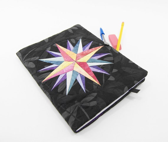 Composition Notebook Cover, Dragonfly Journal, Quilted Fabric Diary - Mariner's Compass in Peach, Rose, Teal and Purple