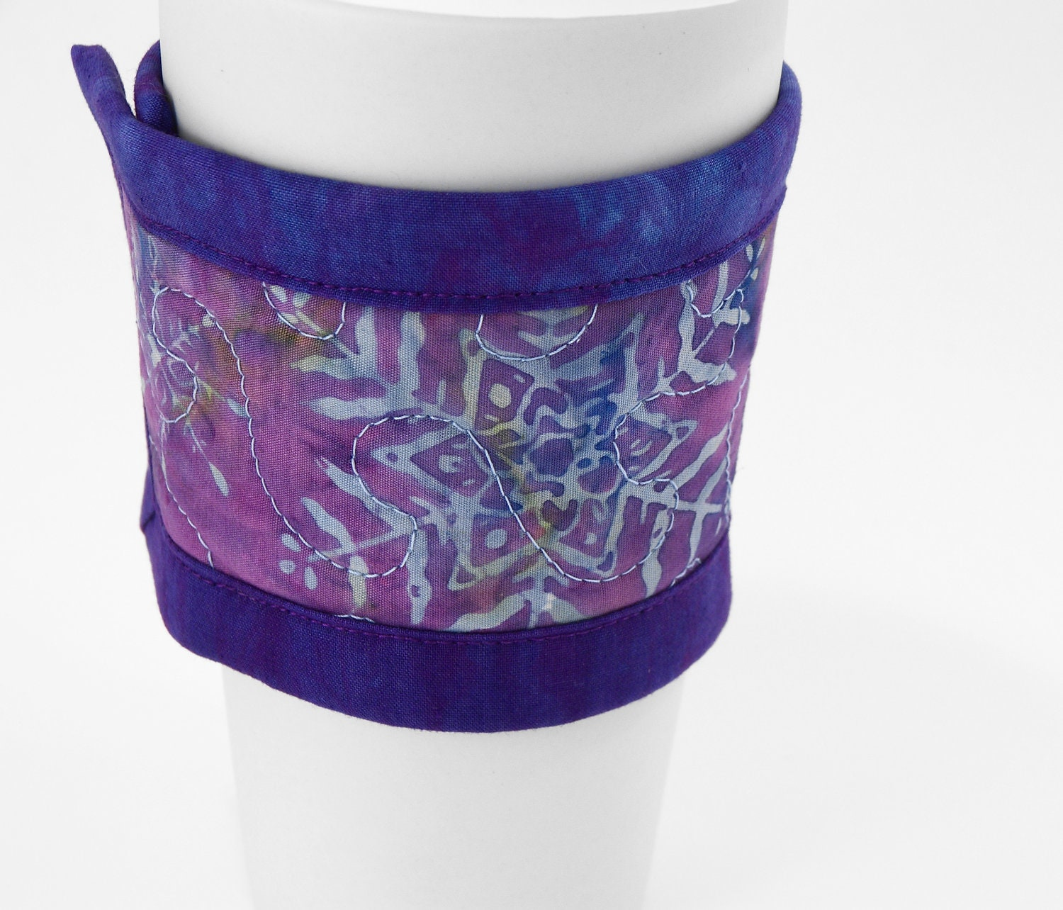 Set Of 3 Coffee Cup Canvas Wraps: Coffee Cup Sleeve Quilted Cup Wrap Coffee Cozy In Winter