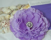 Purple Lavender David's Bridal Flower Rose Sash Hair Clip and Brooch in Wisteria goes well with Freesia