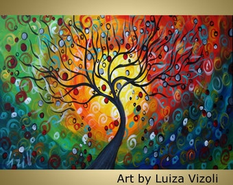 SEASONS Large Giclee on Gallery wrapped Canvas Fantasy Abstract Tree Landscape Fine Art by Luiza Vizoli